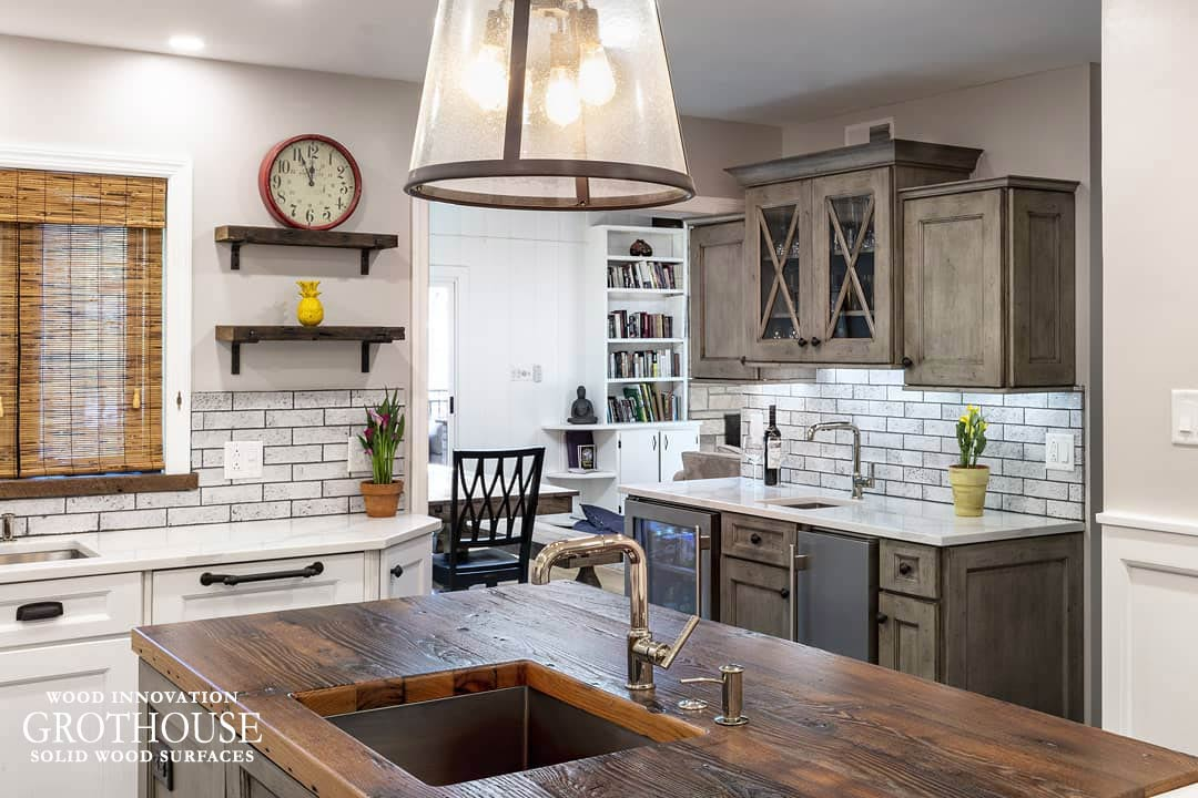 Reclaimed Chestnut Countertop for a Rustic Kitchen Island with an Undermount Kohler Sink in Pittsburgh, PA