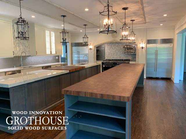 Large Butcher Block Island Countertop in a Transitional Kitchen Design in Gladwyn, Pennsylvania