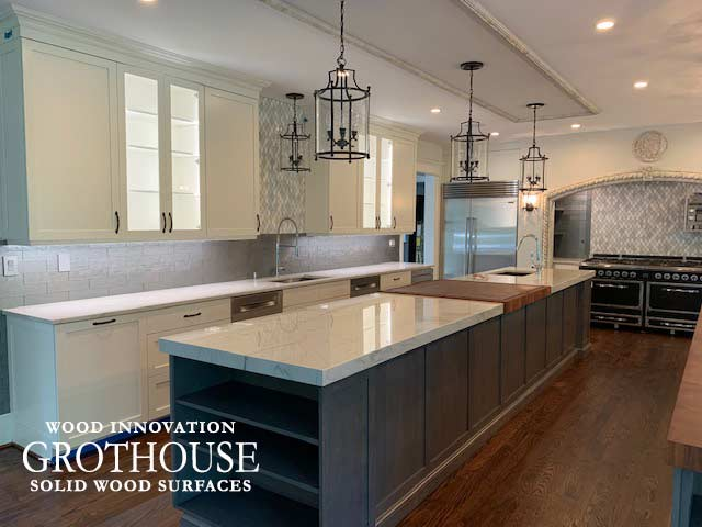 Large Butcher Block Island Countertop in a Large Transitional White Kitchen Design in Gladwyn, PA