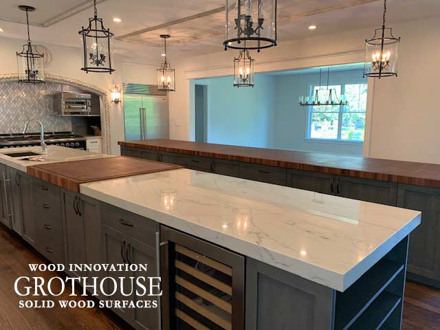 Transitional White Kitchen Design with a Large Butcher Block Island Countertop in Gladwyn, Pennsylvania