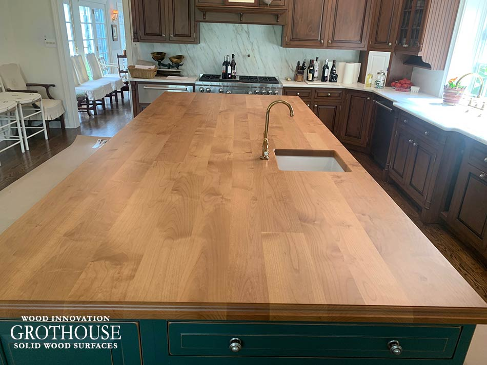 Alder Wood Kitchen Island Countertop with a Sink Cutout in a Traditional Kitchen Design in Newtown, PA