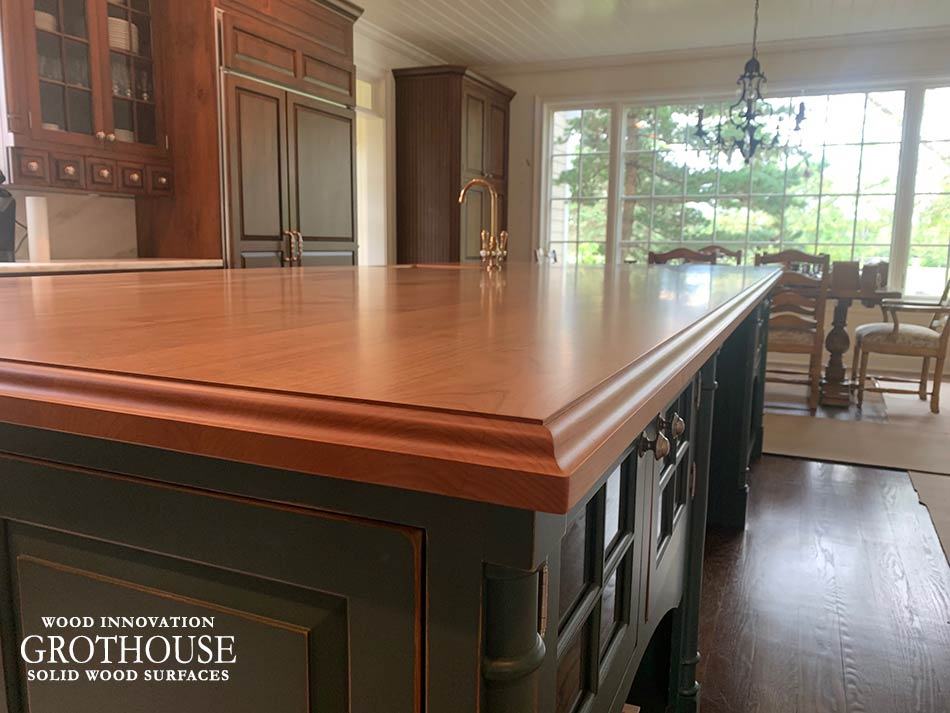 Alder Wood Kitchen Island Countertop Edge Profile in a Traditional Kitchen Design in Newtown, PA