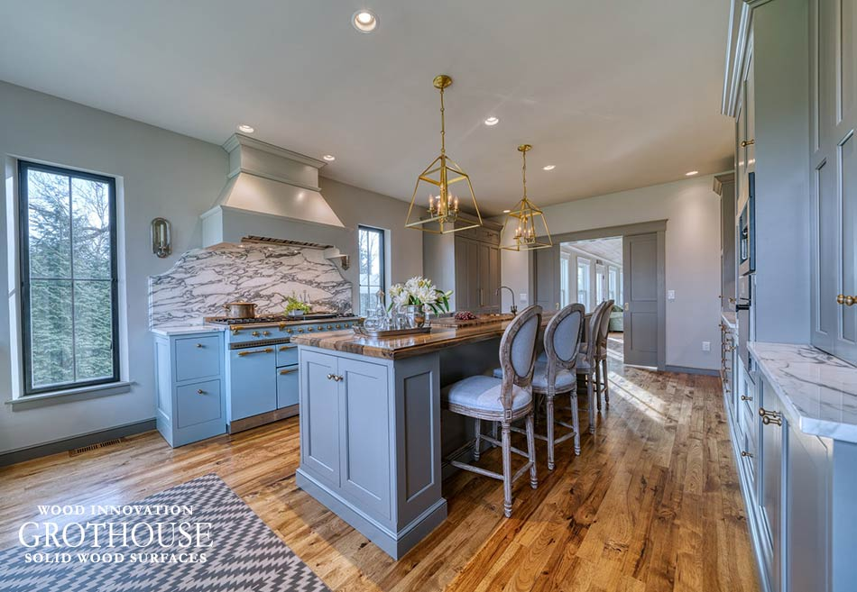 Saxon Wood Island Countertops in a Farmhouse Kitchen with a Marble Backsplash in Dillsburg, Pennsylvania