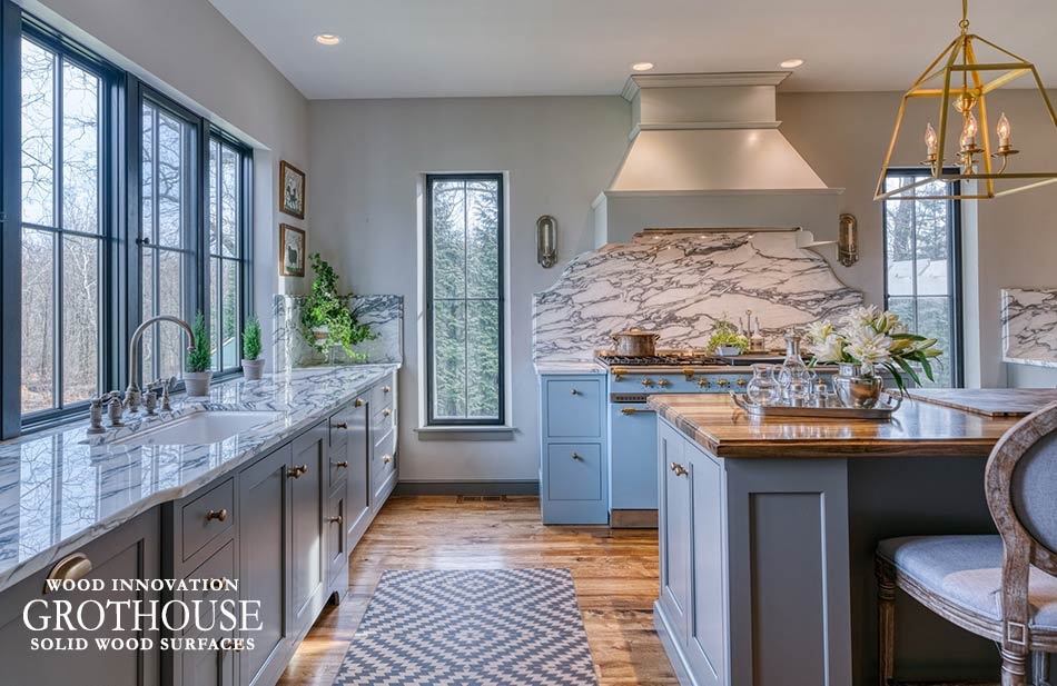 Saxon Wood Island Countertops with Complementary Marble Countertops in a Farmhouse Kitchen in Dillsburg, Pennsylvania