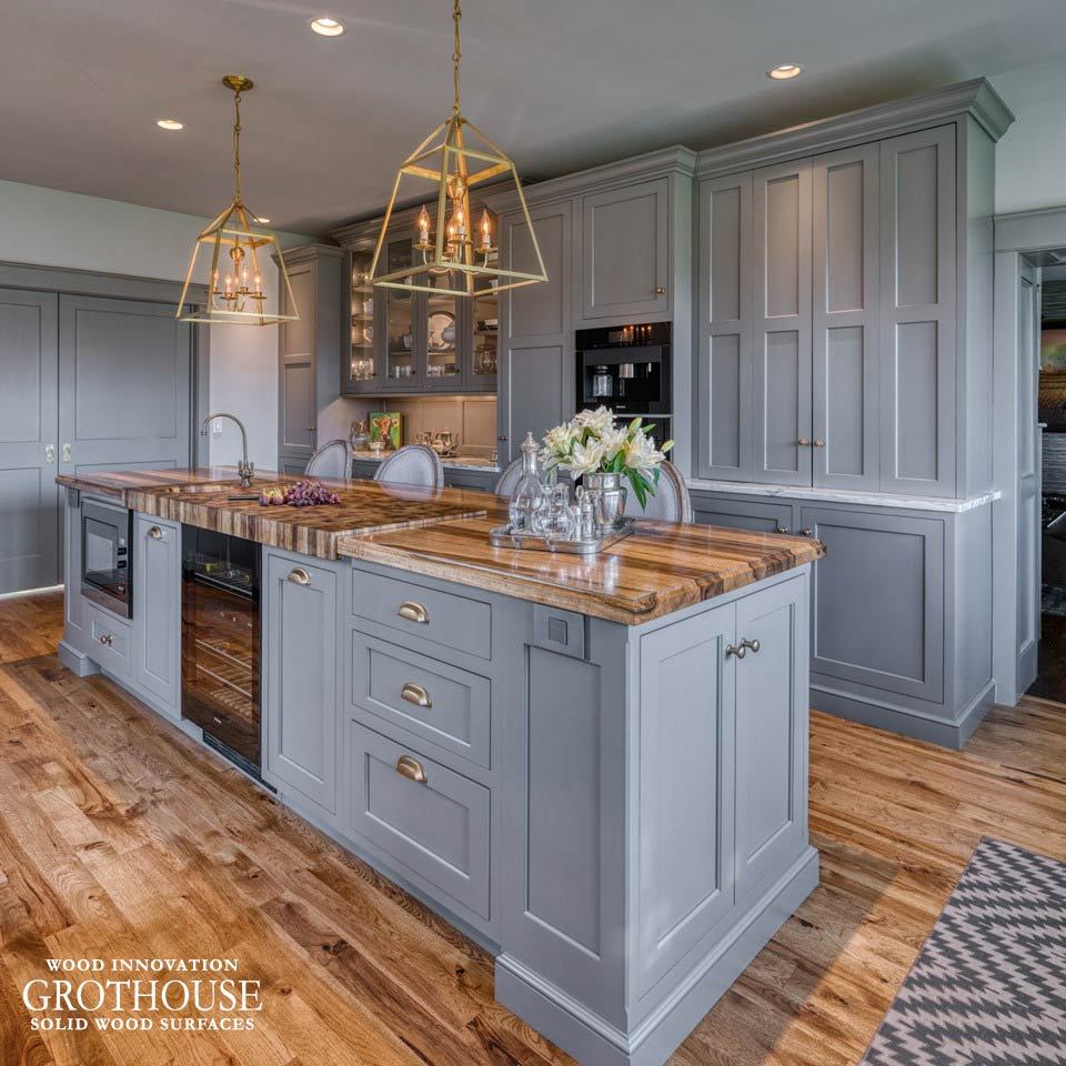 Saxon Wood Island Countertops with Gray Cabinetry in a Farmhouse Kitchen Design in Dillsburg, Pennsylvania