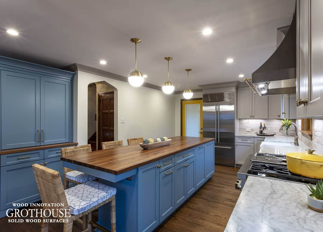 Walnut Countertop for a Kitchen Island in a Transitional Home located in Cheswick Pennsylvania