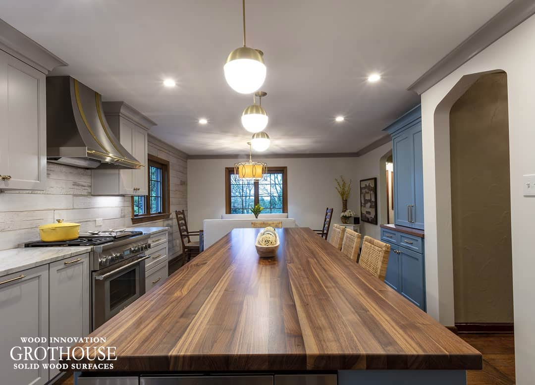 Transitional Kitchen Design with Large Island and a Walnut Top in Cheswick Pennsylvania