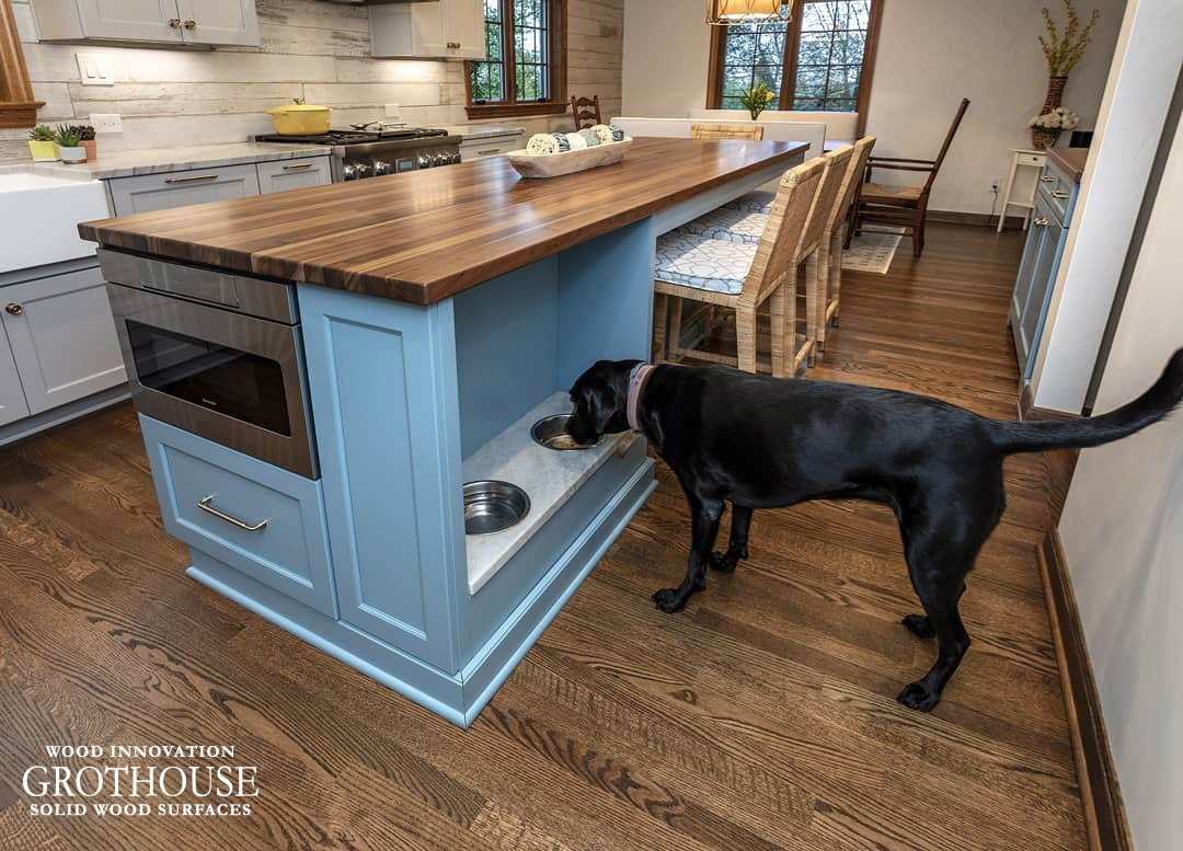 Transitional Kitchen Island with Built-In Pet Bowl Station in Cheswick, Pennsylvania
