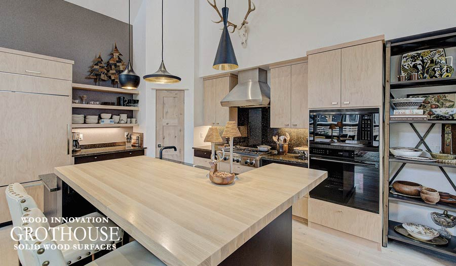 Ash Wood Kitchen Island Countertop for a contemporary style home located in Frisco, Colorado