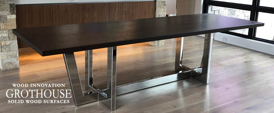 Modern Stained White Oak Tabletop with Stainless Steel Base for a Dining Room in Glen Ellyn, IL