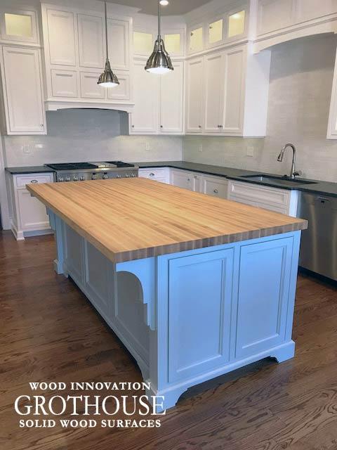 Custom Maple Kitchen Island Countertop for a traditional style kitchen design in Devon, Pennsylvania