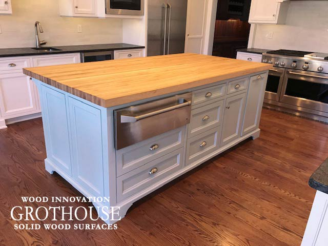 White Kitchen Island with a Custom Maple Wood Countertop in Devon, Pennsylvania