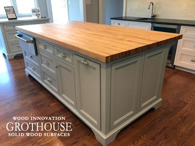 Maple Wood Countertop designed for a White Kitchen Island in Devon, Pennsylvania
