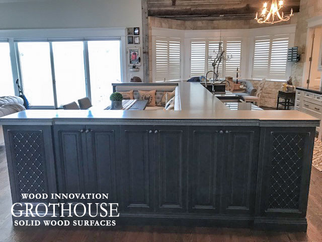 French Country Kitchen in Denver, Colorado with Axel Anvil Metal Kitchen Bar Top