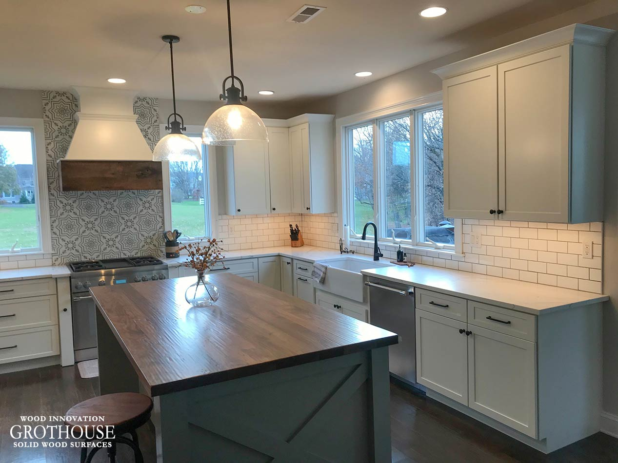 Farmhouse Kitchen with Hand Planed Walnut Kitchen Island Top in King of Prussia, PA