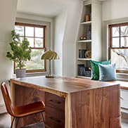 Custom Walnut Live Edge Desk with Waterfall Legs in This Old House® Cape Ann Project