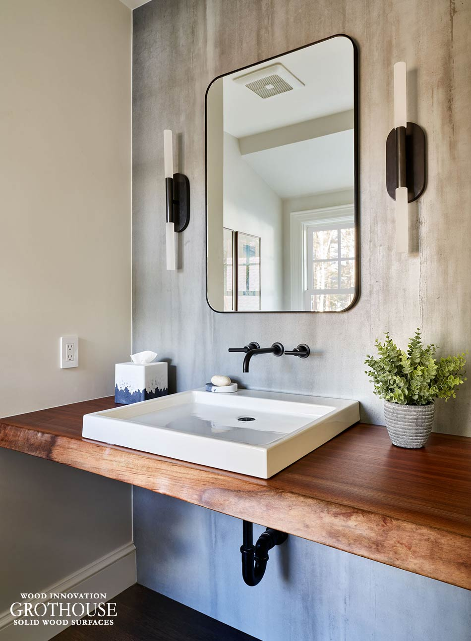 Custom Walnut Live Edge Vanity Top in This Old House® Cape Ann Project