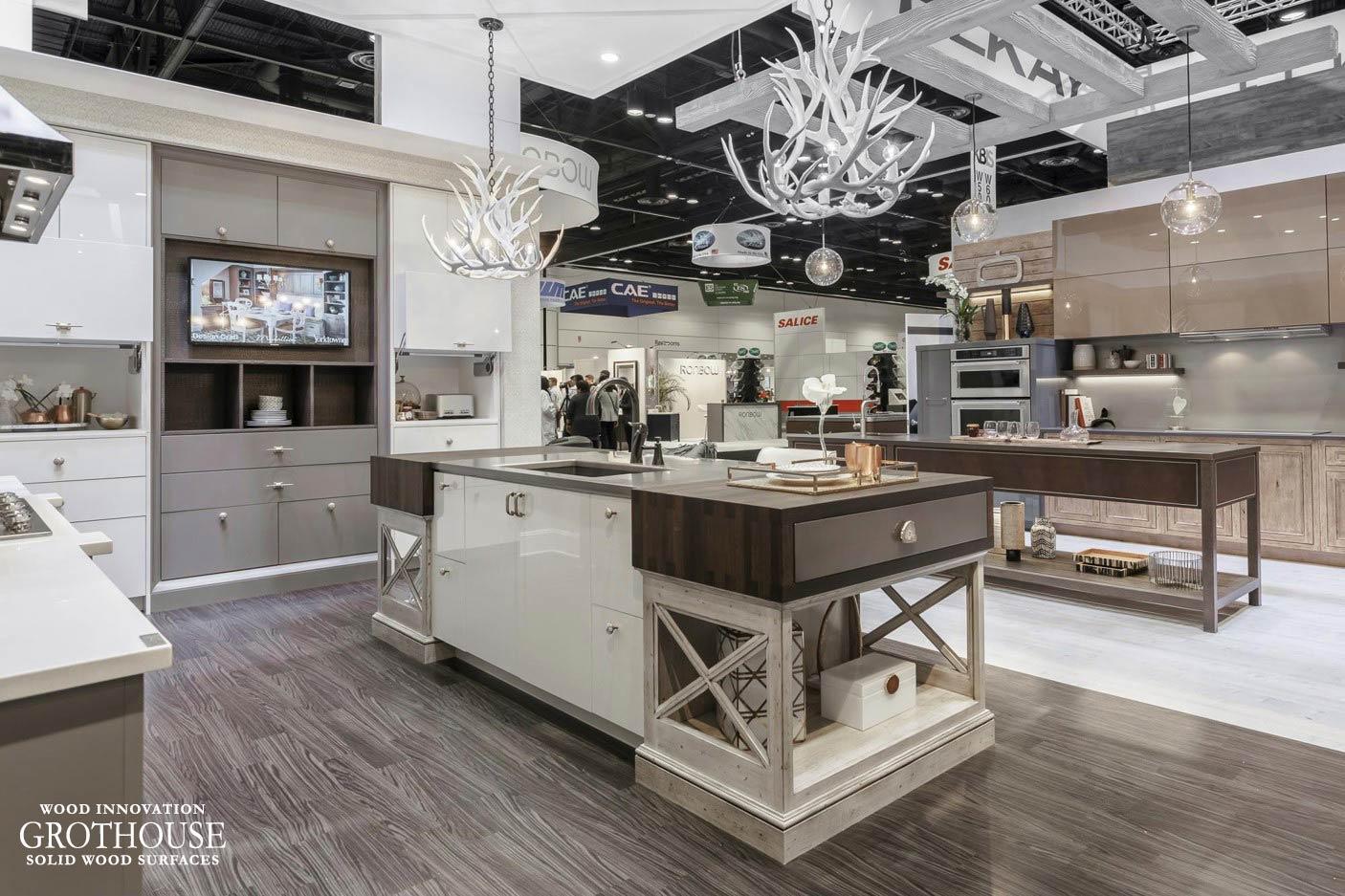 Anvil™ Palladium Metal Countertop and Wenge Drawer Wraps on display at KBIS 2017