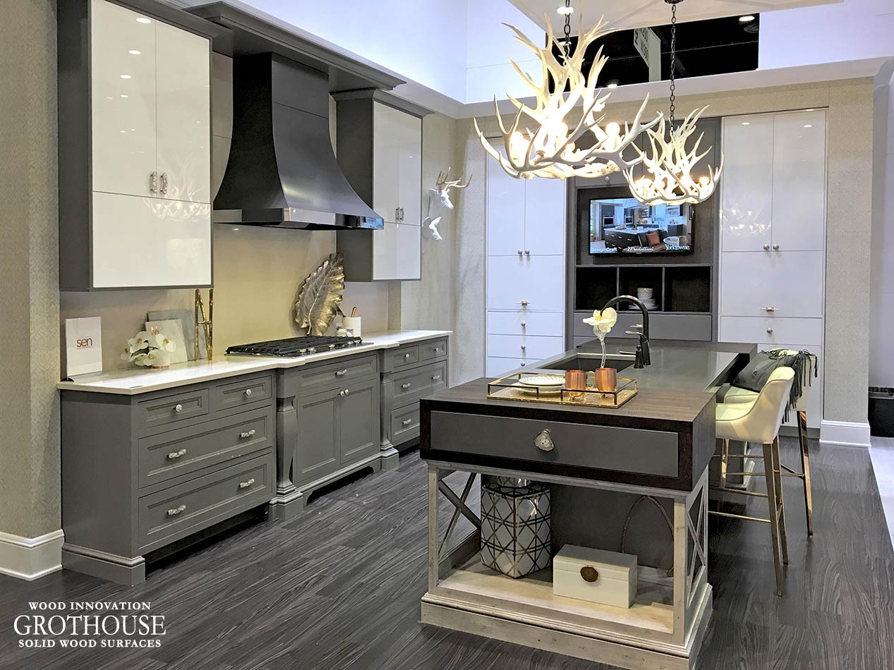 Metal Countertop and Wood Drawers with Metal Fronts on display at KBIS 2017 in Orlando, Florida