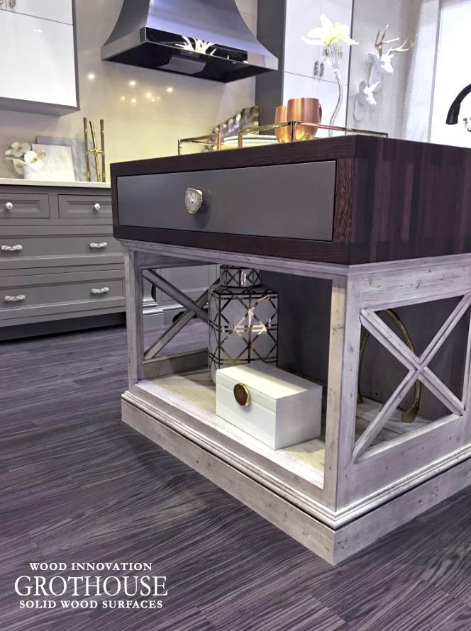 Custom Wenge Wood Drawer Wraps and Anvil Palladium Metal Drawer Fronts at KBIS