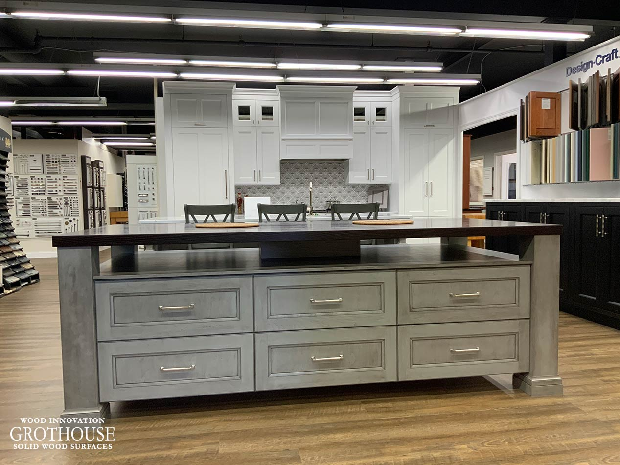 Stained Ash Wood Countertop Display for Majestic Kitchens & Bath in Mamaroneck, New York