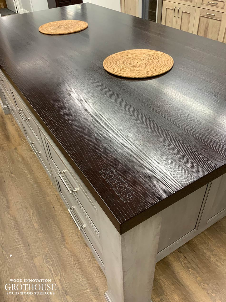 Stained Ash Wood Countertop Display with Wire Brushing for Majestic Kitchens & Bath in Mamaroneck, New York