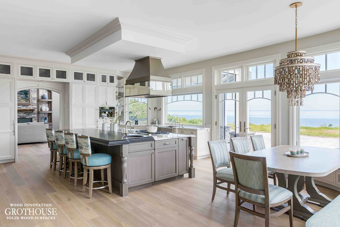 Curly Figured Maple Island Top, Anvil Metal Hood and Table in Northport, New York