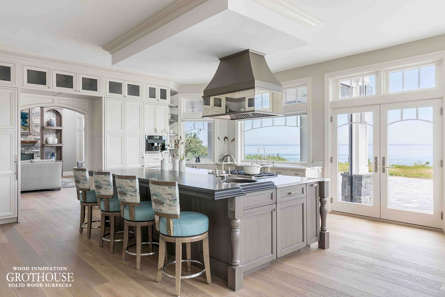 Kitchen with Wood Island Top, Metal Hood and Custom Table in Northport, New York
