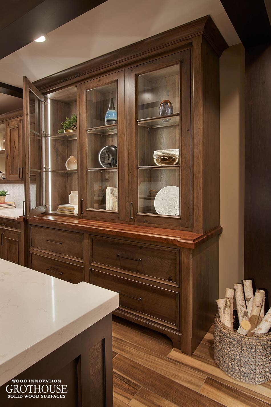 Walnut Hutch Top Showroom Display at Crystal Cabinet Works in Princeton, Minnesota