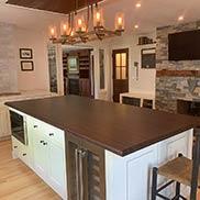 Peruvian Walnut Kitchen Island Top for a Farmhouse Style Kitchen in Worcester, Massachusetts
