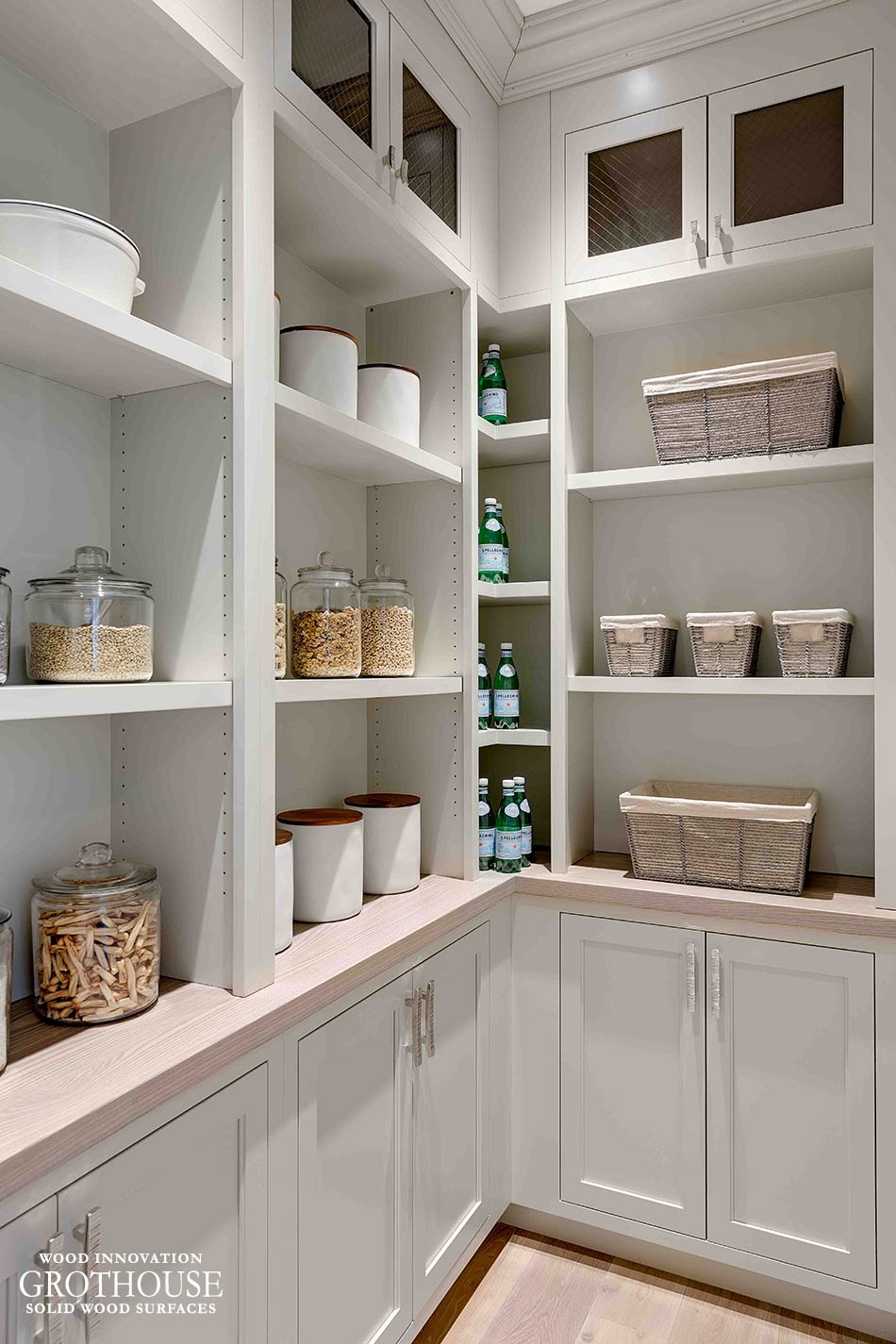 Coastal Style Pantry with a Stained Ash Wood Top in Northport, New York