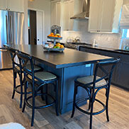 Custom Stained Maple Kitchen Counters for a modern farmhouse style kitchen in Lottsburg, Virginia
