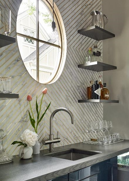 Custom Floating Shelves for House Beautiful Kitchen of the Year