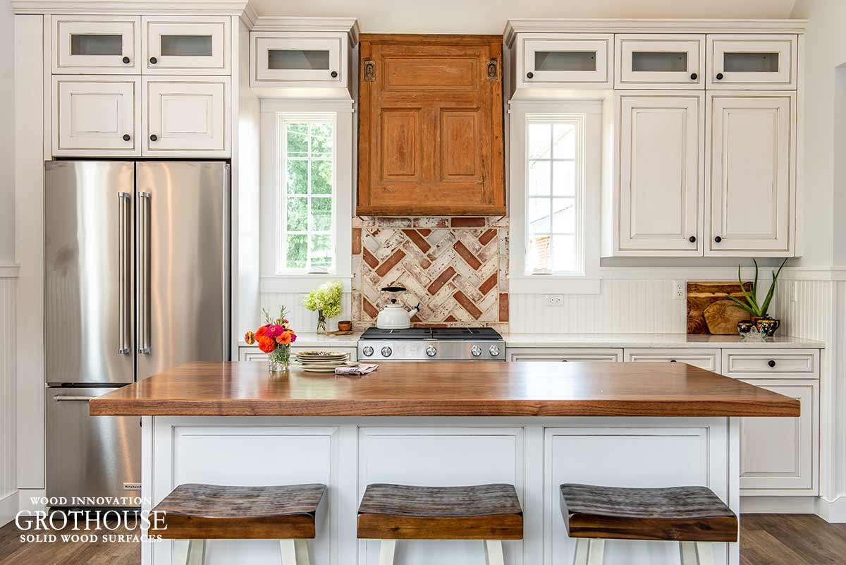 White Kitchen Design with a Distressed Walnut Kitchen Island Counter in Abington, Pennsylvania