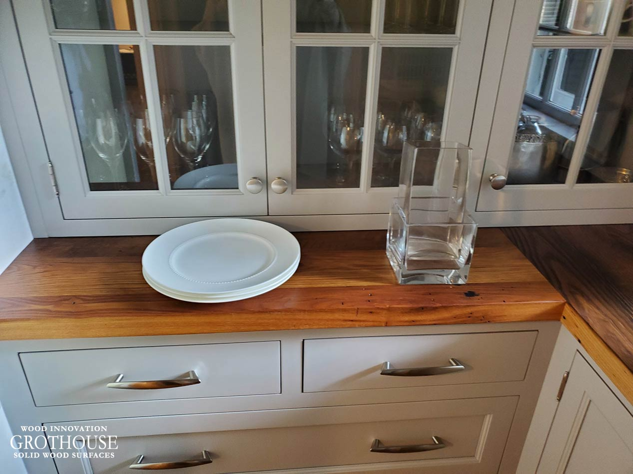 Reclaimed Chestnut Wood Counter for a Rustic Style Home in Littleton, MA
