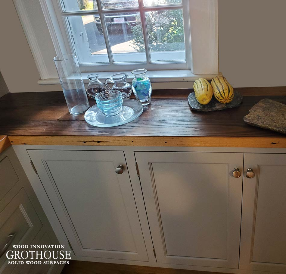 Reclaimed Chestnut Counter for a Rustic Style Kitchen in Littleton, Massachusetts