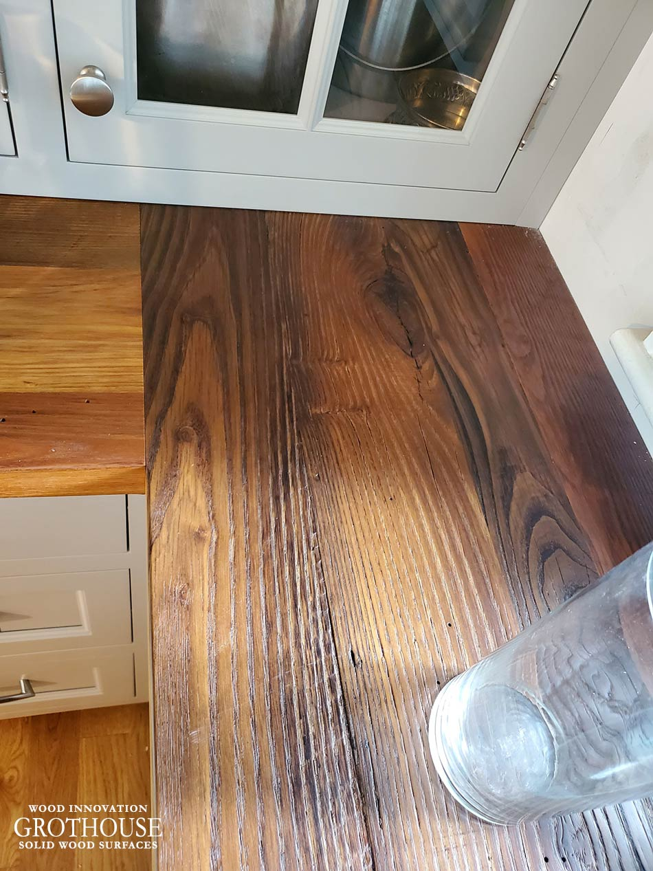 Kitchen Counter Built from Reclaimed Chestnut Wood for a Rustic Style Home in Littleton, Massachusetts