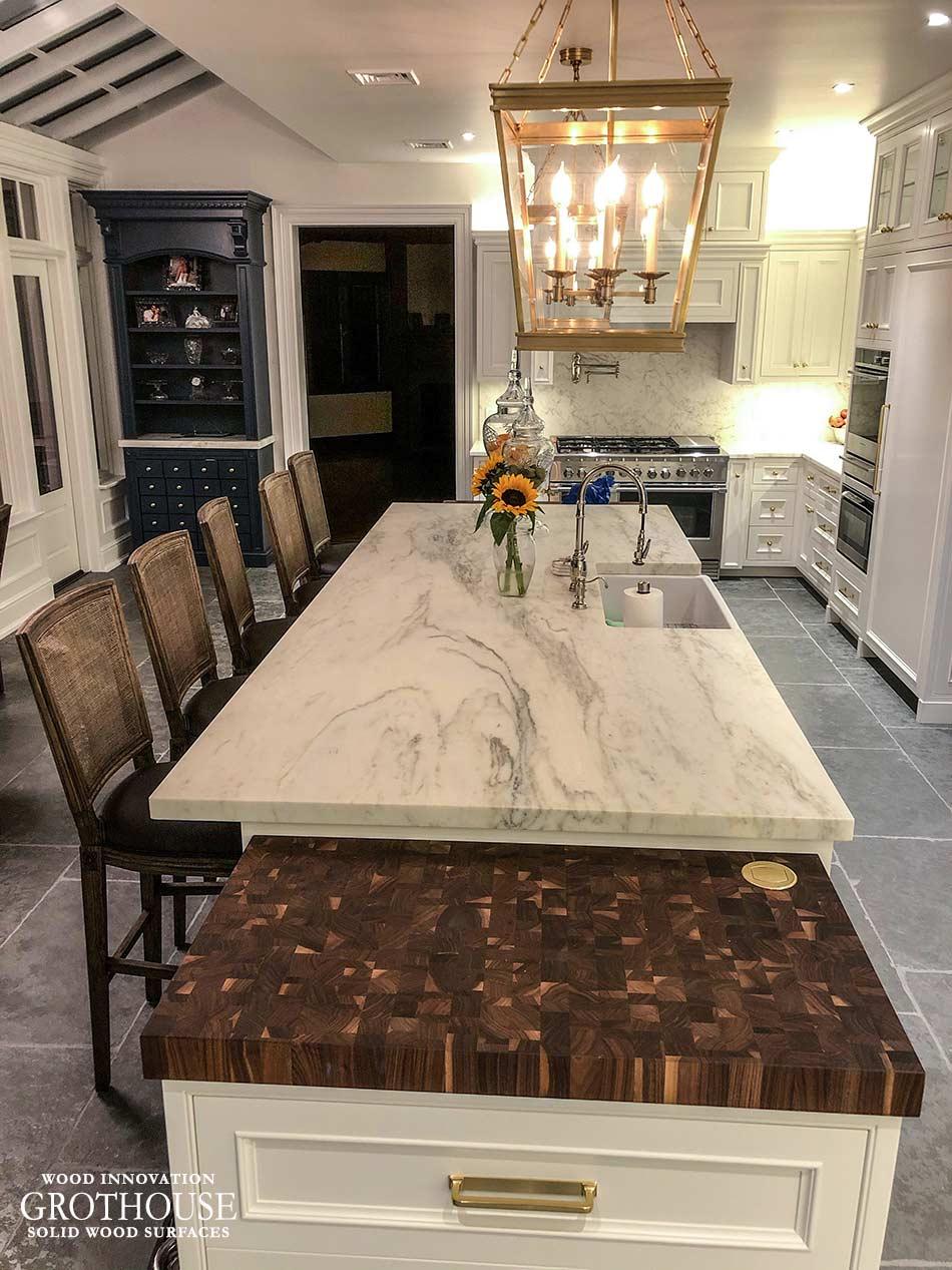 Transitional Kitchen Island with a Random Mix Walnut Butcher Block in Astoria, New York