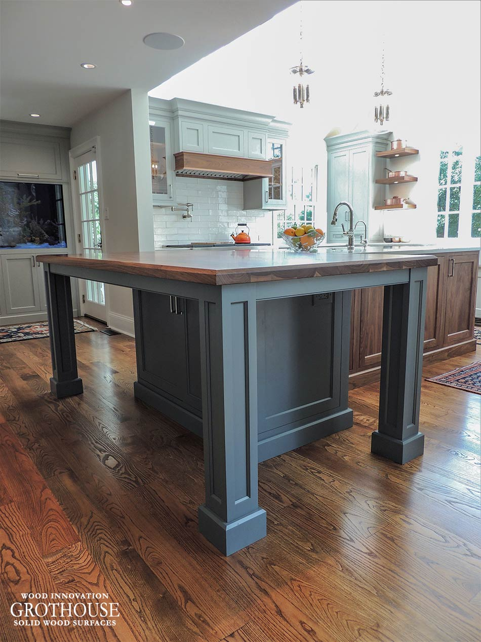 Custom Walnut All Heartwood Kitchen Island Top in West Chester, PA