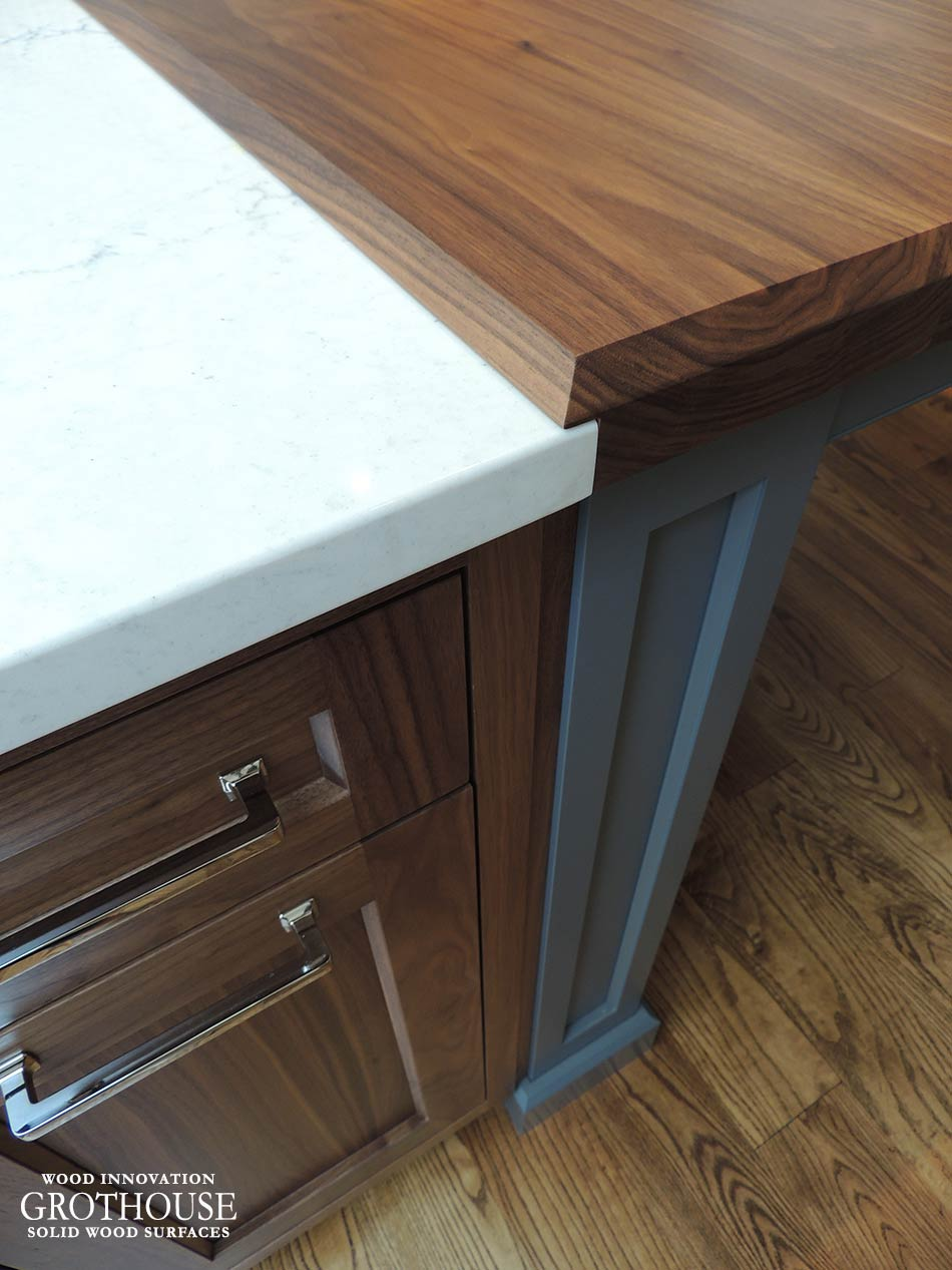 Walnut Wood Counter with Custom Chafer Edge Profile in West Chester, PA