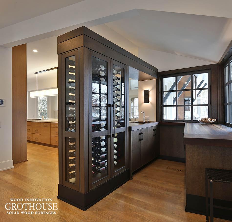 Custom Wenge Wood Wine Bar Tops in Plain City, Ohio