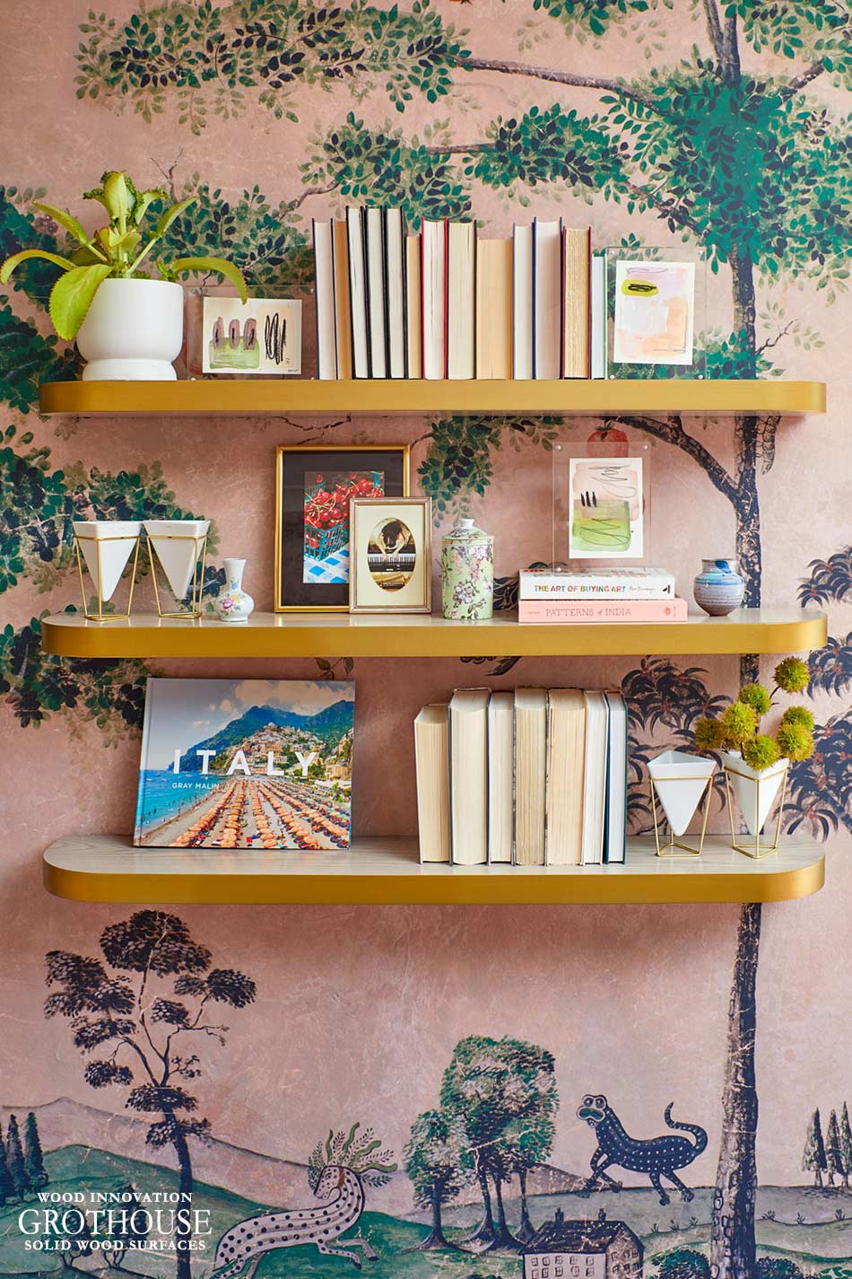 Ash Wood Floating Shelves with Metal Edges for House Beautiful Whole Home 2020