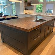 Random Mix Kensington™ Wood Butcher Block for a Contemporary Kitchen Island in Groton, MA