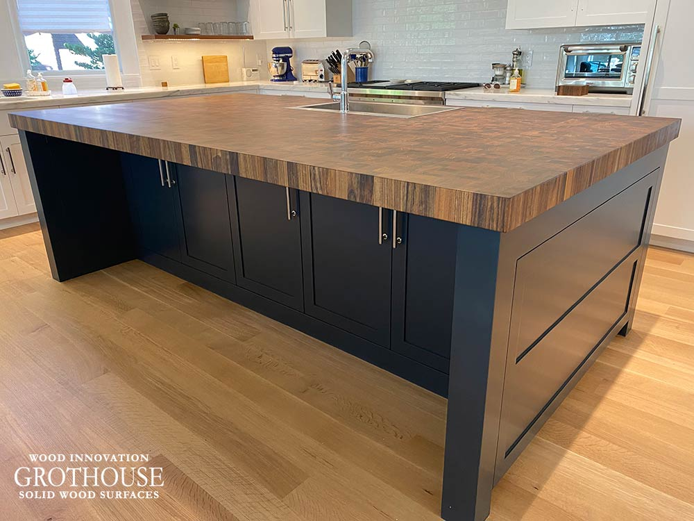 Random Mix Butcher Block made of Kensington™ Wood for a Contemporary Kitchen Island in Groton, MA