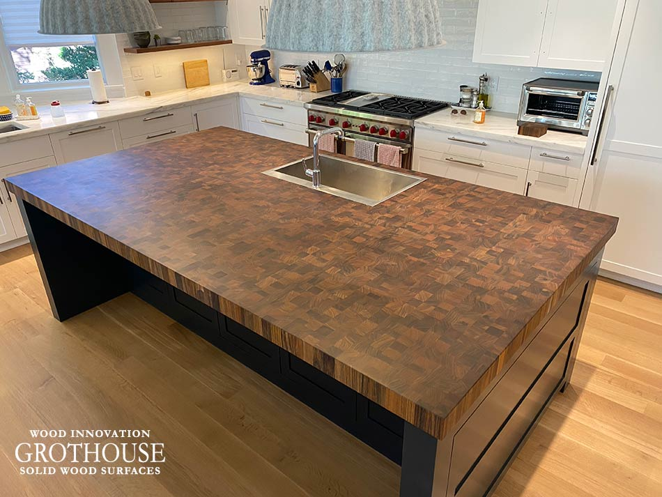 Contemporary Kitchen with a Kensington™ Wood Butcher Block Countertop in Groton, MA