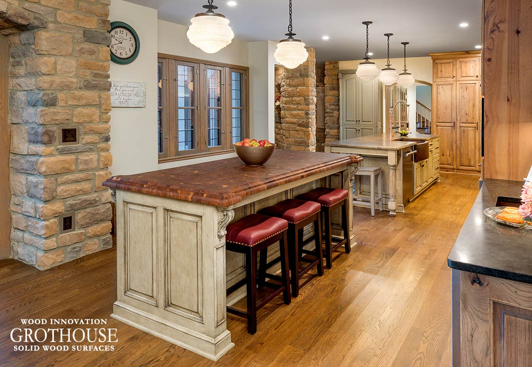 Farmhouse Kitchen with Random Mix Walnut Butcher Block in Columbus, Ohio