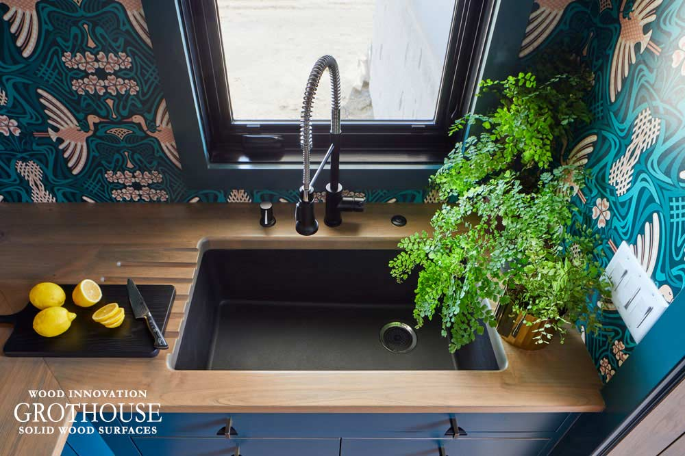 Knotty Alder Wood Counter with Drainboards and Metal Detail for House Beautiful Whole Home 2020