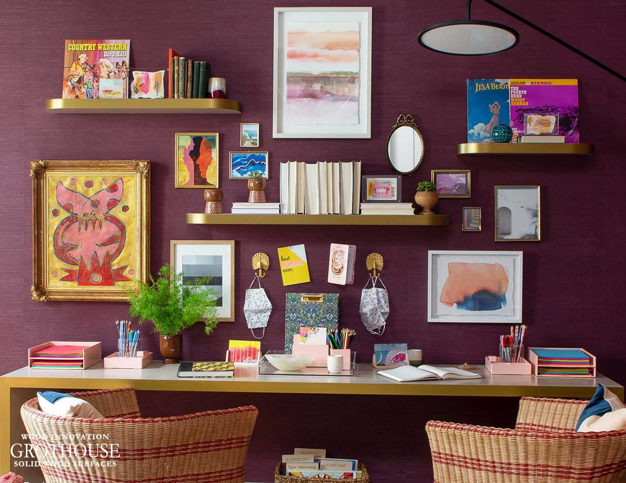 Matching Desk and Floating Shelves with Metal Edges for House Beautiful Whole Home 2020