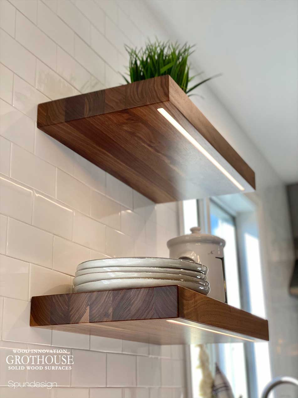 Custom Walnut Wood Floating Shelves with Integrated LED Lighting in Nazareth, Pennsylvania