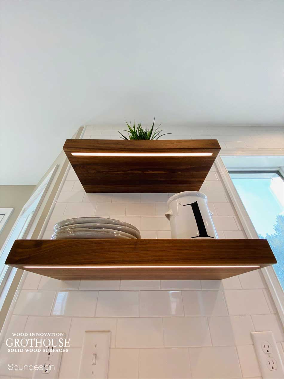 Custom High End Wood Floating Shelves with Integrated LED Lights in Nazareth, Pennsylvania